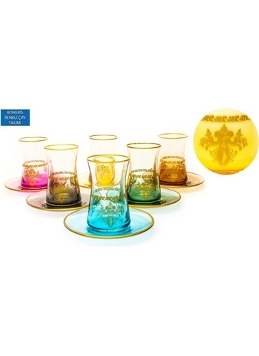 Paşabahçe Heybeli Bohems 12 Parça Renkli Çay Seti Renkli